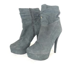 ALDO gray suede slouch zip up heel ankle boots 8